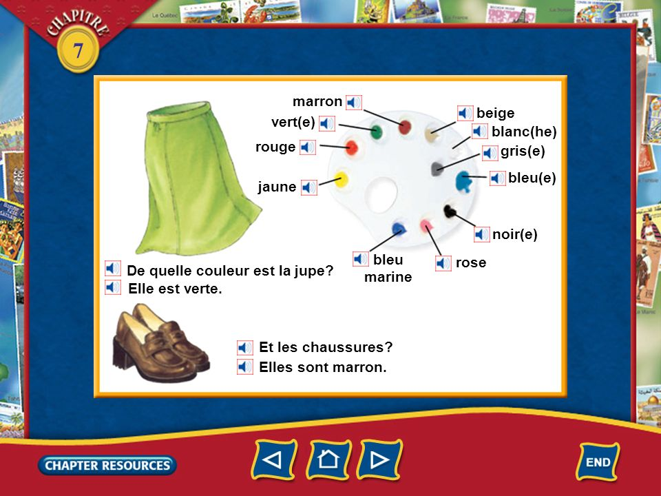marron beige. vert(e) blanc(he) rouge. gris(e) bleu(e) jaune. noir(e) bleu marine. rose. De quelle couleur est la jupe