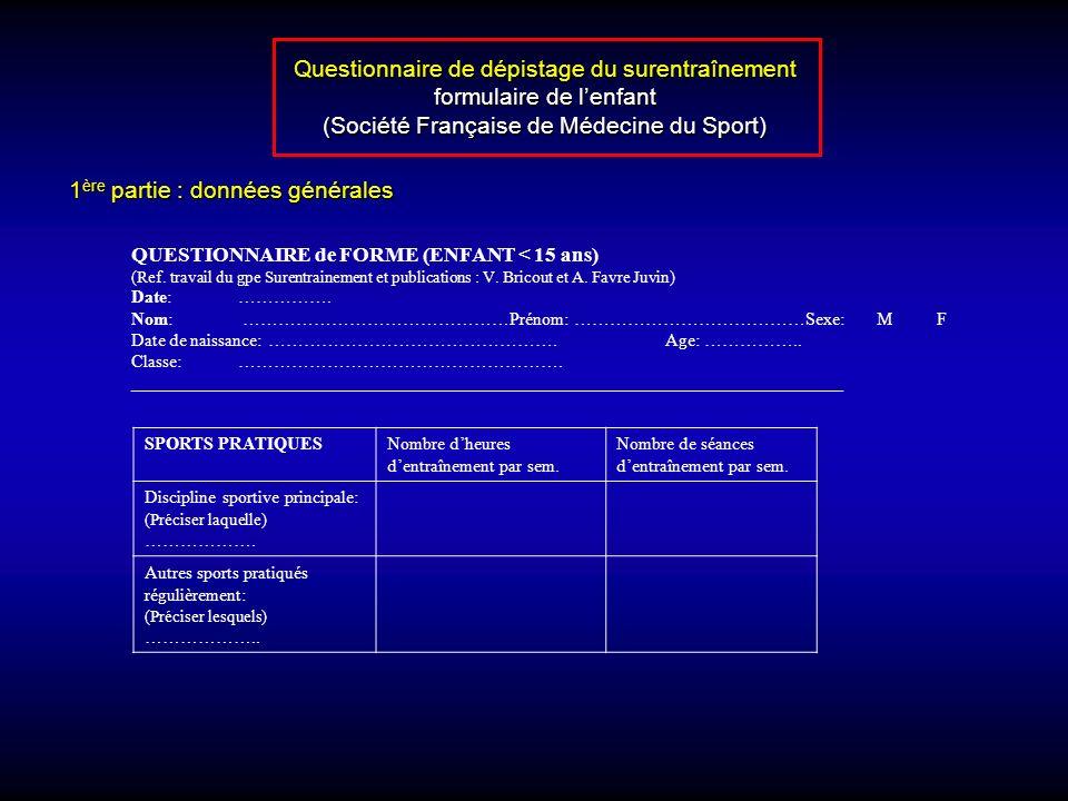Questionnaire de dépistage du surentraînement formulaire de l'enfant