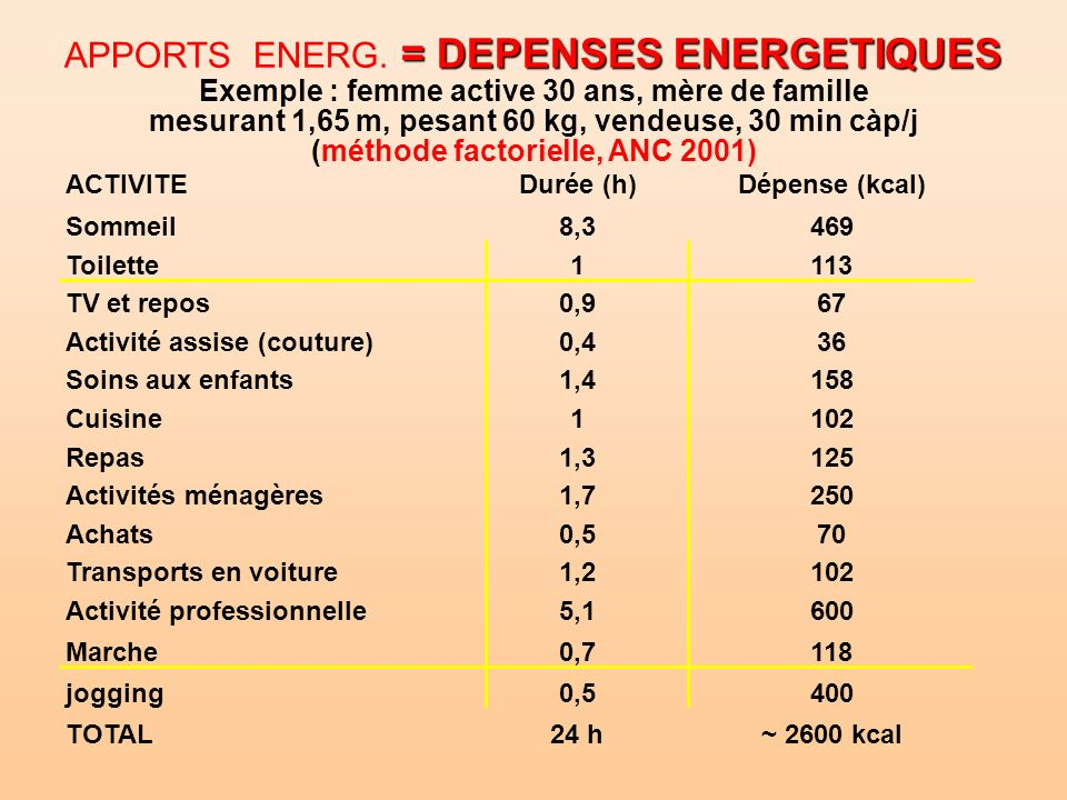 APPORTS ENERG. = DEPENSES ENERGETIQUES