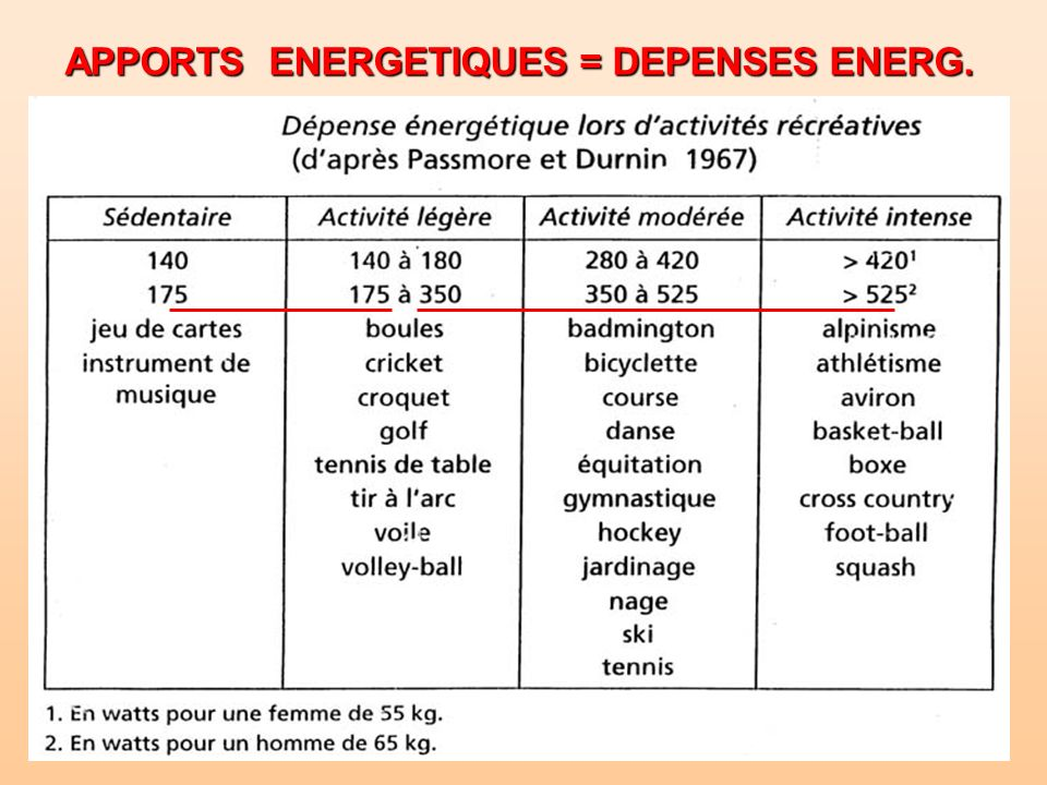 APPORTS ENERGETIQUES = DEPENSES ENERG.