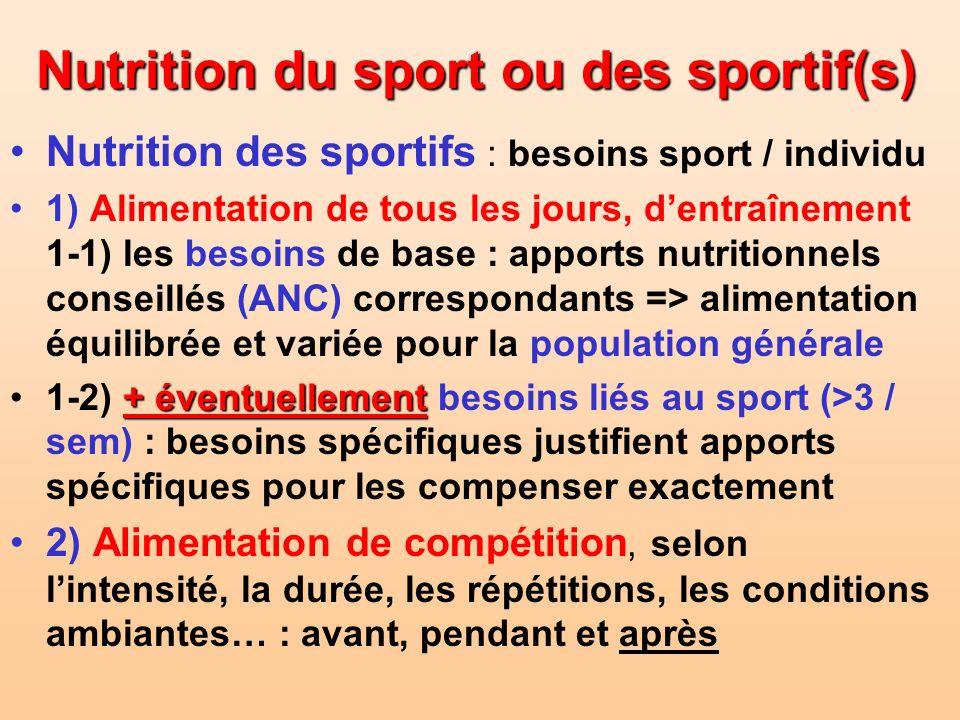 Nutrition du sport ou des sportif(s)