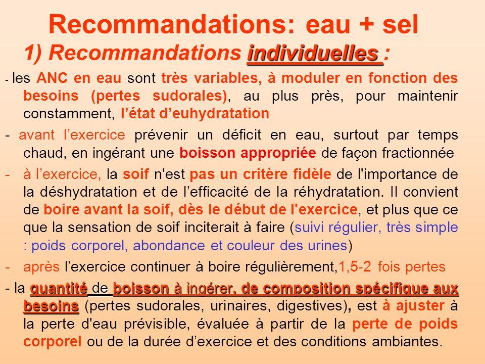 Recommandations: eau + sel