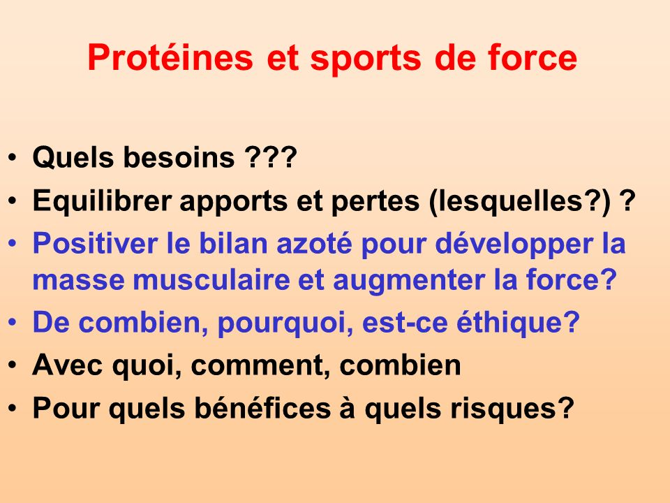 Protéines et sports de force