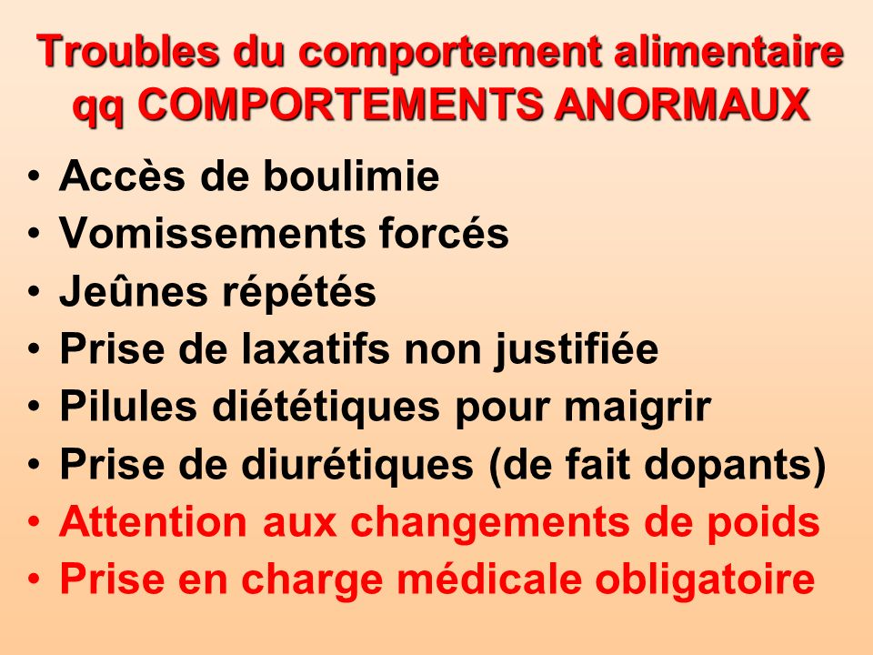 Troubles du comportement alimentaire qq COMPORTEMENTS ANORMAUX