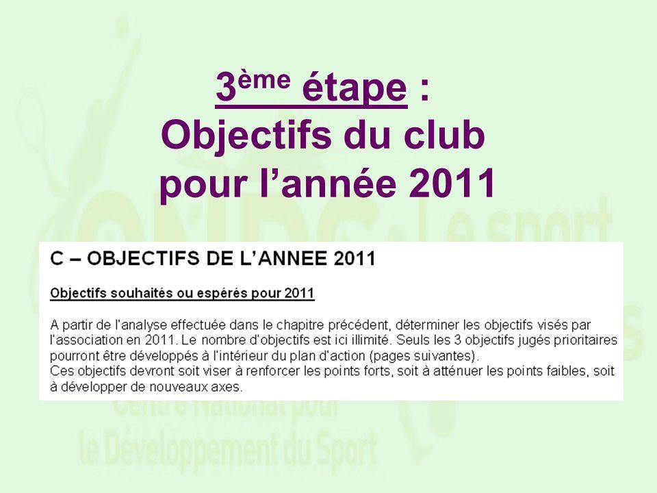 3ème étape : Objectifs du club pour l'année 2011