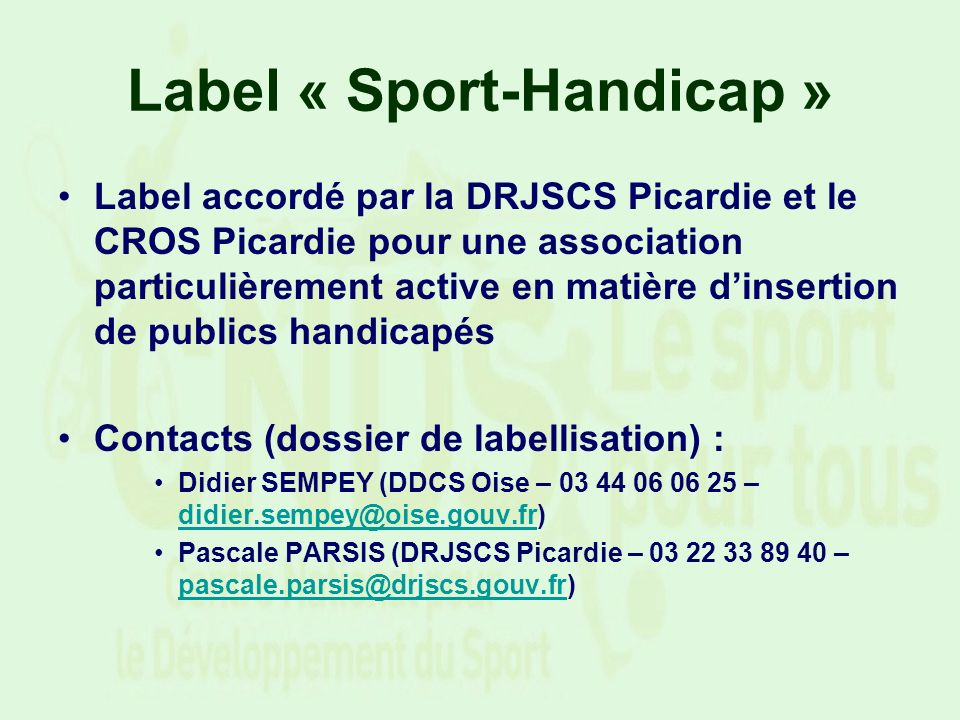 Label « Sport-Handicap »