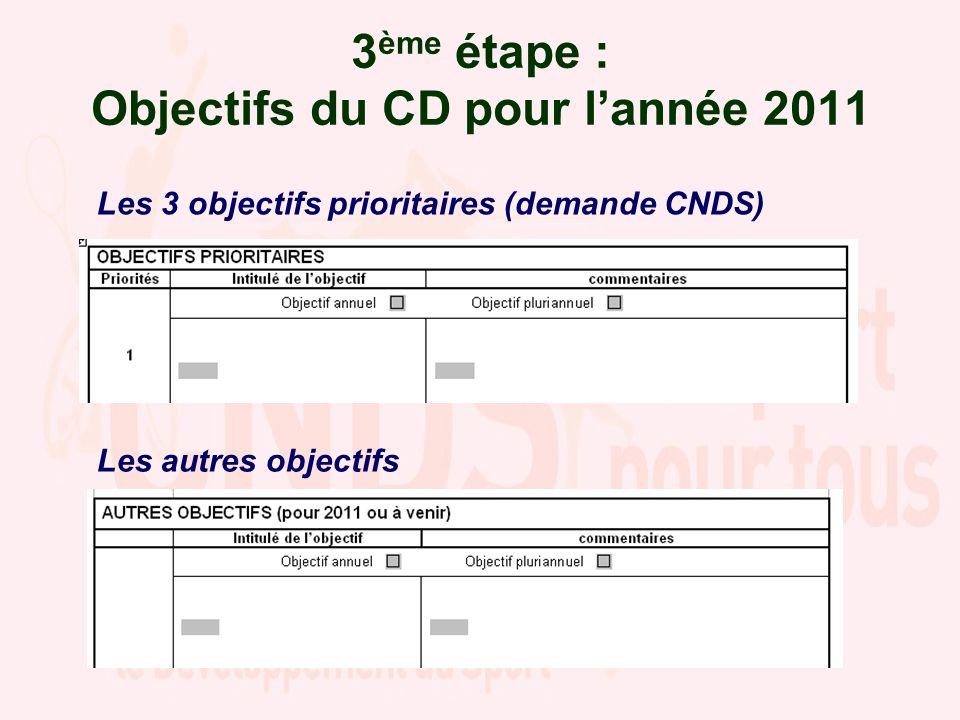 3ème étape : Objectifs du CD pour l'année 2011