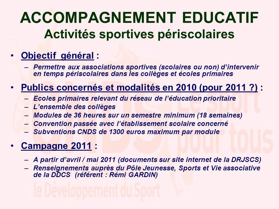 ACCOMPAGNEMENT EDUCATIF Activités sportives périscolaires