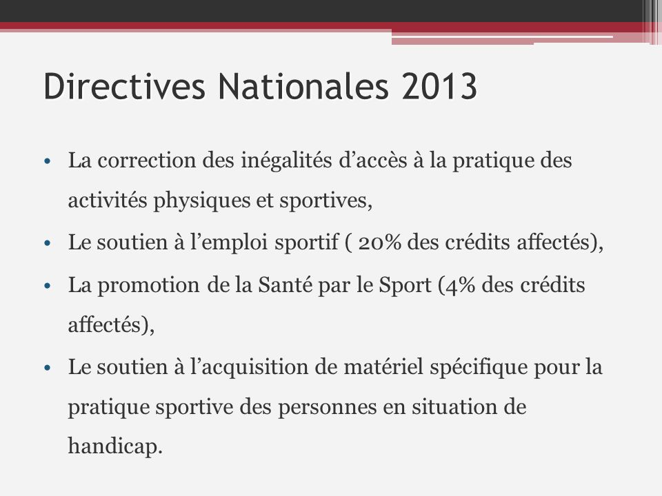 Directives Nationales 2013