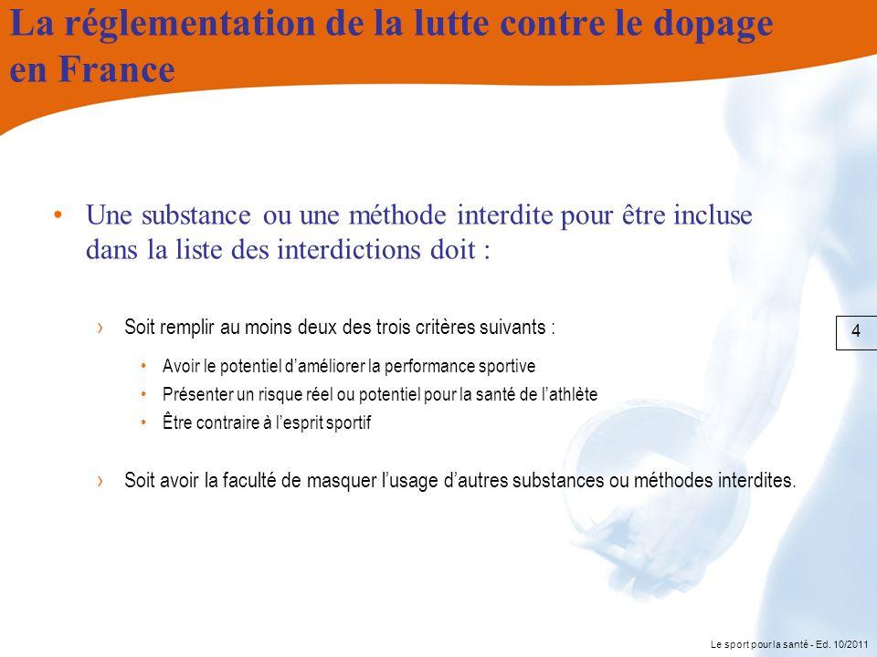 La réglementation de la lutte contre le dopage en France