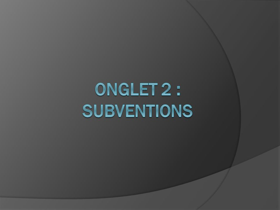 ONGLET 2 : Subventions