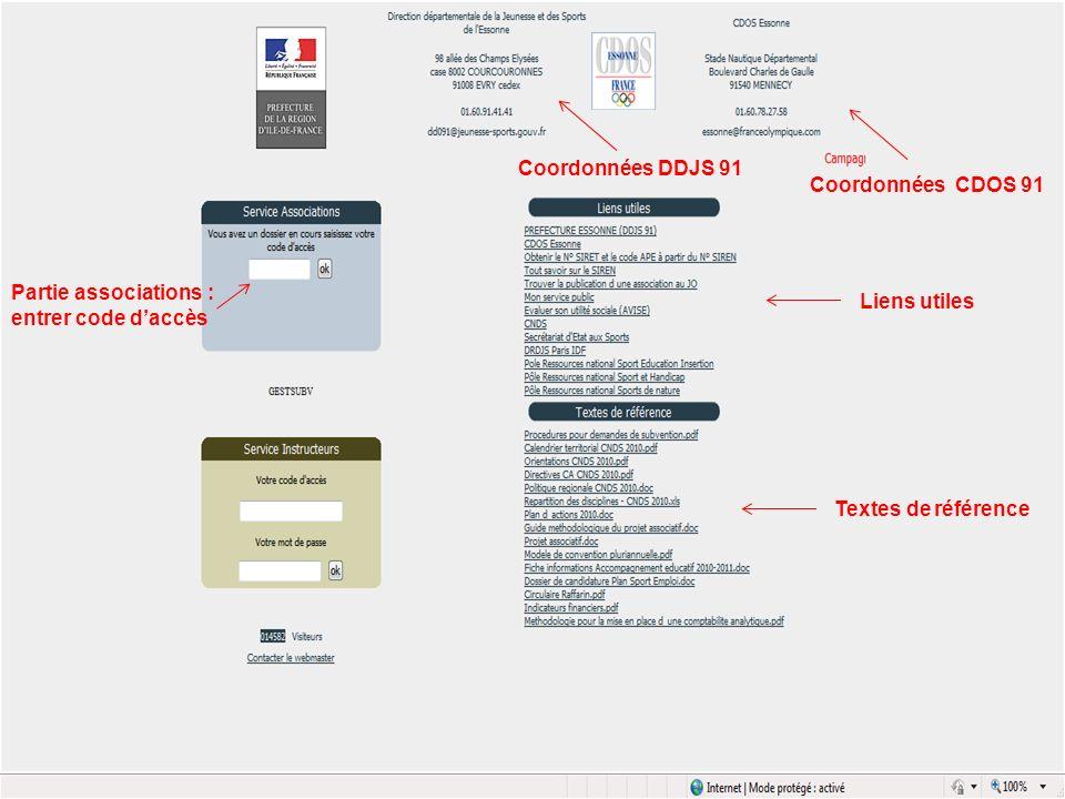 Coordonnées DDJS 91 Coordonnées CDOS 91. Partie associations : entrer code d'accès. Liens utiles.