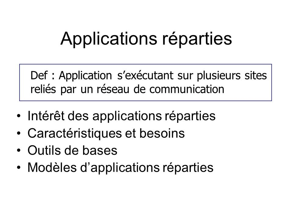 Applications réparties