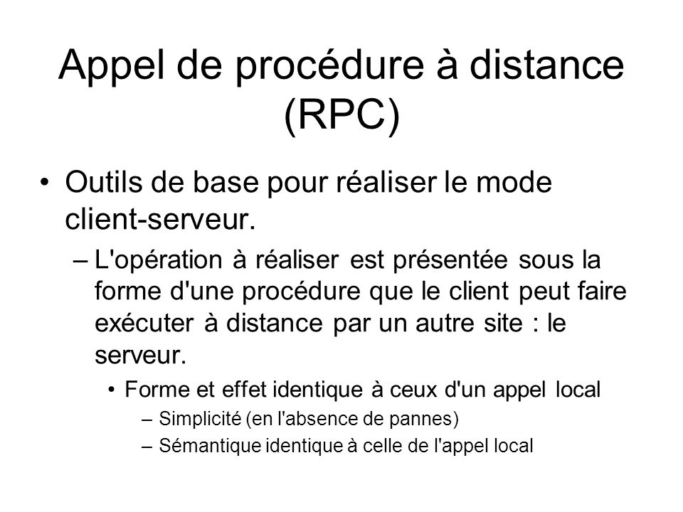Appel de procédure à distance (RPC)