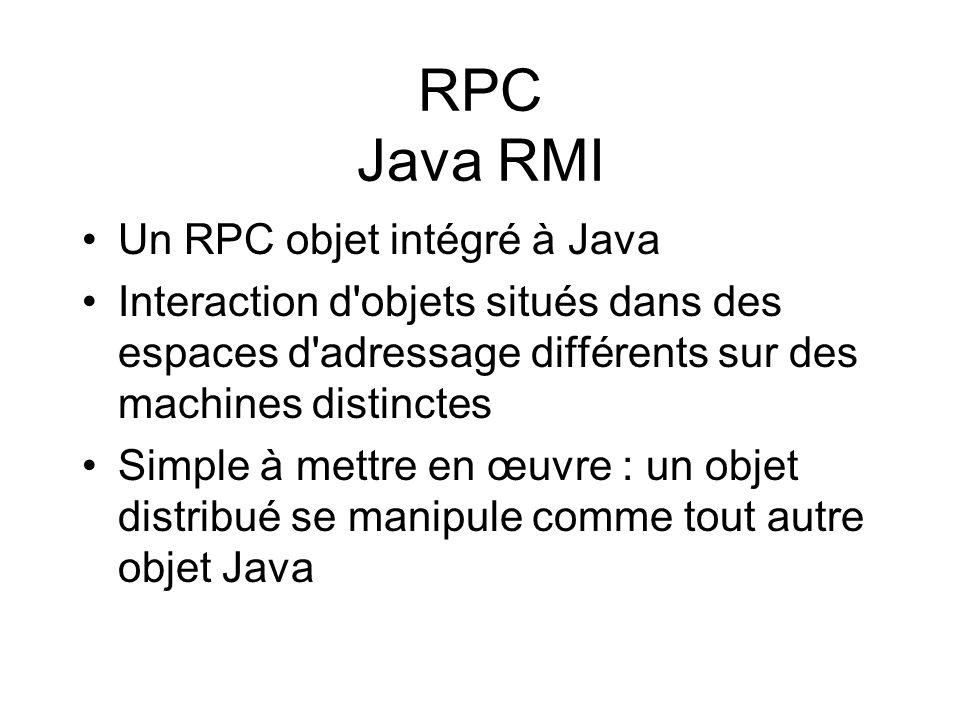 RPC Java RMI Un RPC objet intégré à Java