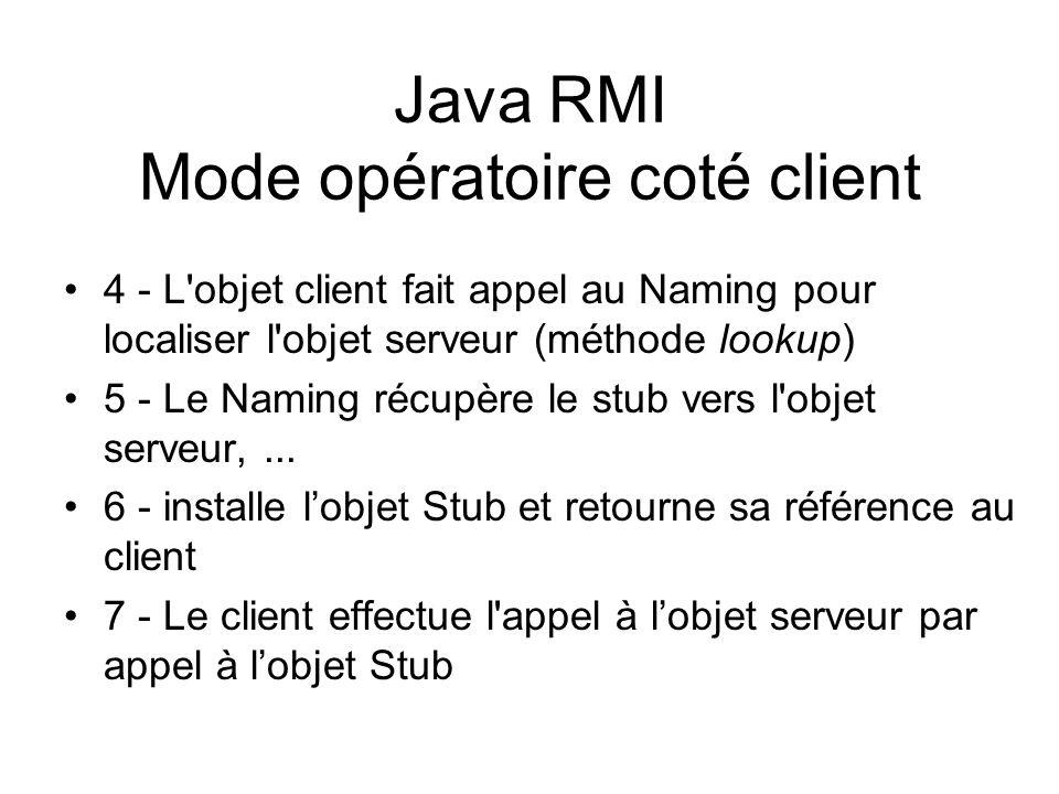 Java RMI Mode opératoire coté client