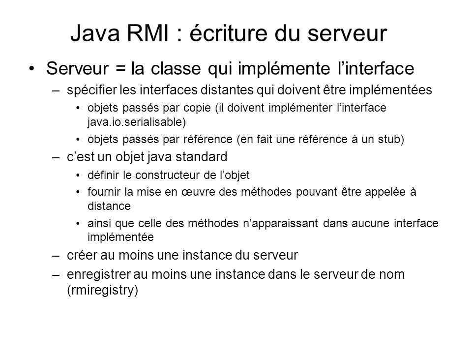 Java RMI : écriture du serveur