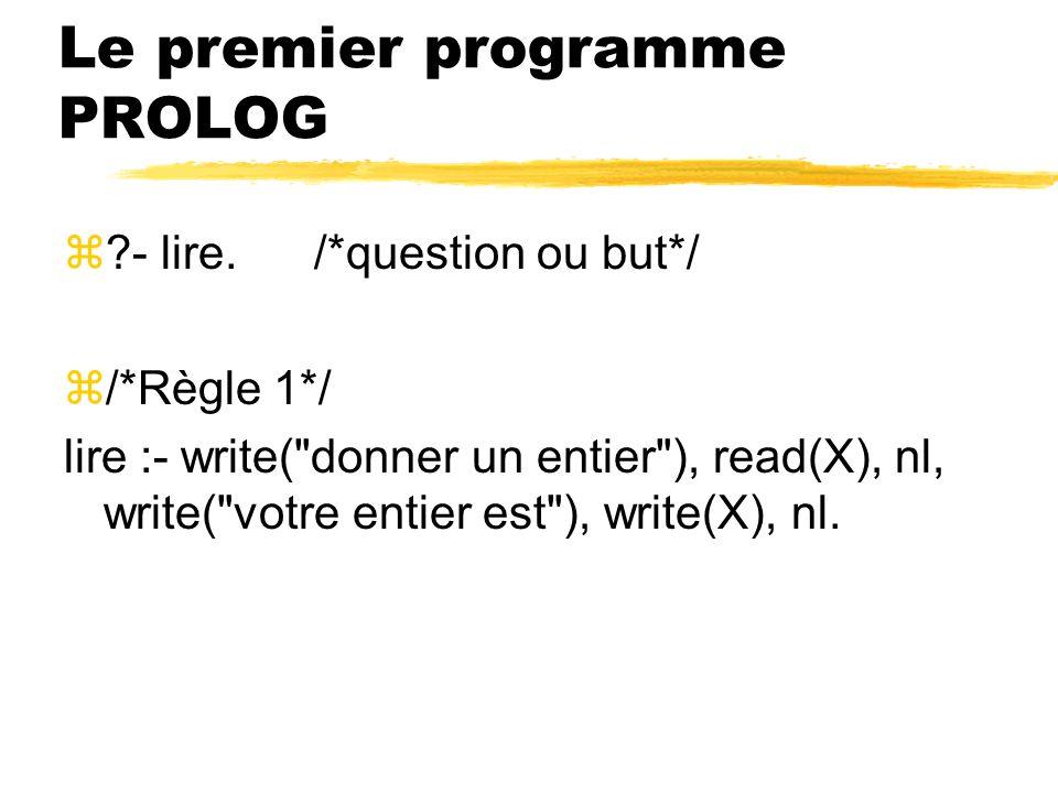 Le premier programme PROLOG