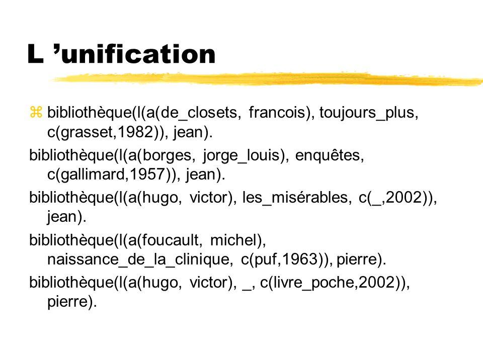 L 'unification bibliothèque(l(a(de_closets, francois), toujours_plus, c(grasset,1982)), jean).
