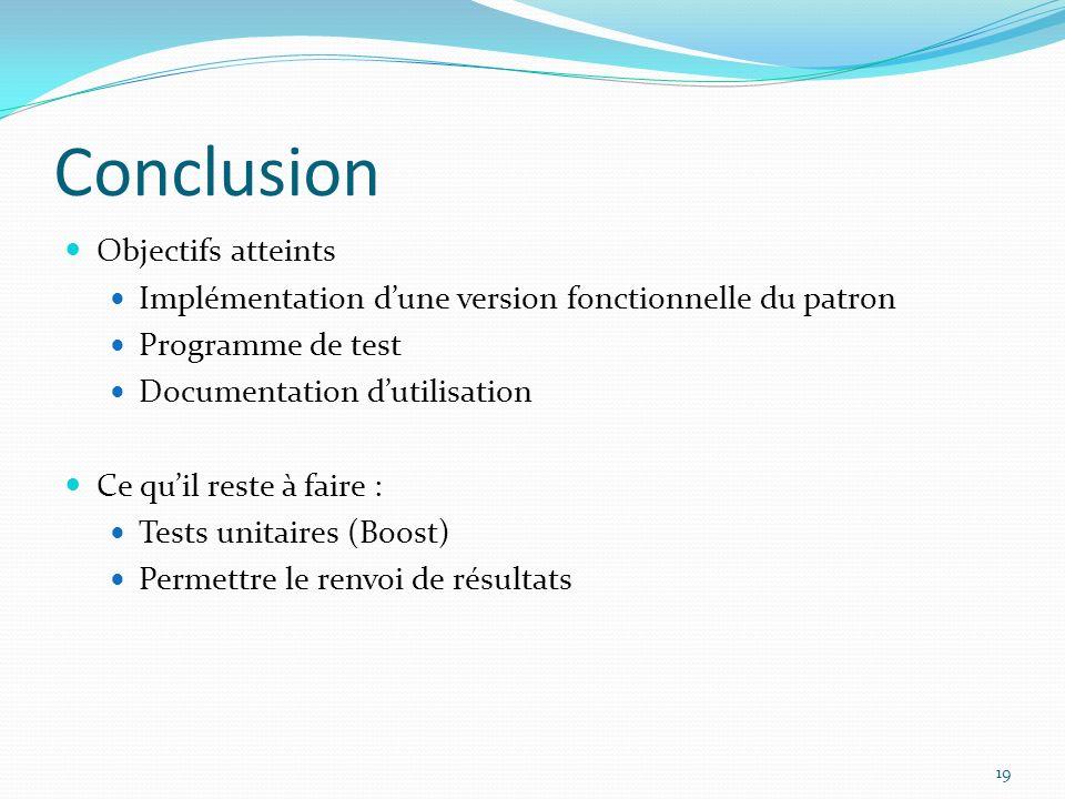 Conclusion Objectifs atteints