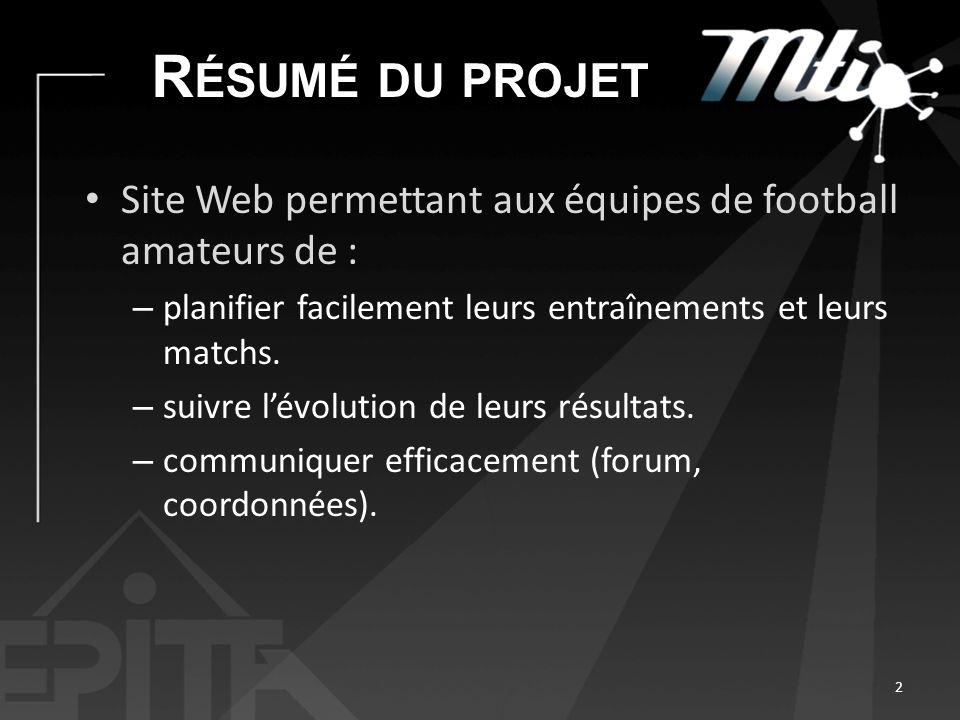 Résumé du projet Site Web permettant aux équipes de football amateurs de : planifier facilement leurs entraînements et leurs matchs.