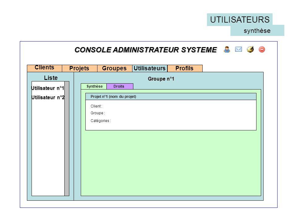 UTILISATEURS CONSOLE ADMINISTRATEUR SYSTEME