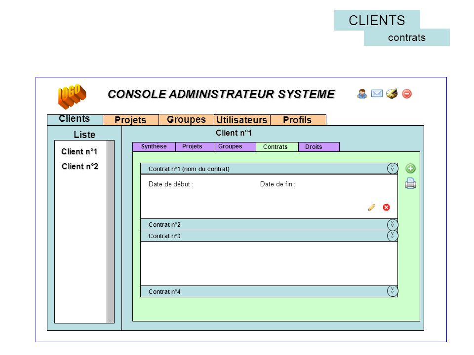 LOGO CLIENTS CONSOLE ADMINISTRATEUR SYSTEME contrats Clients Projets