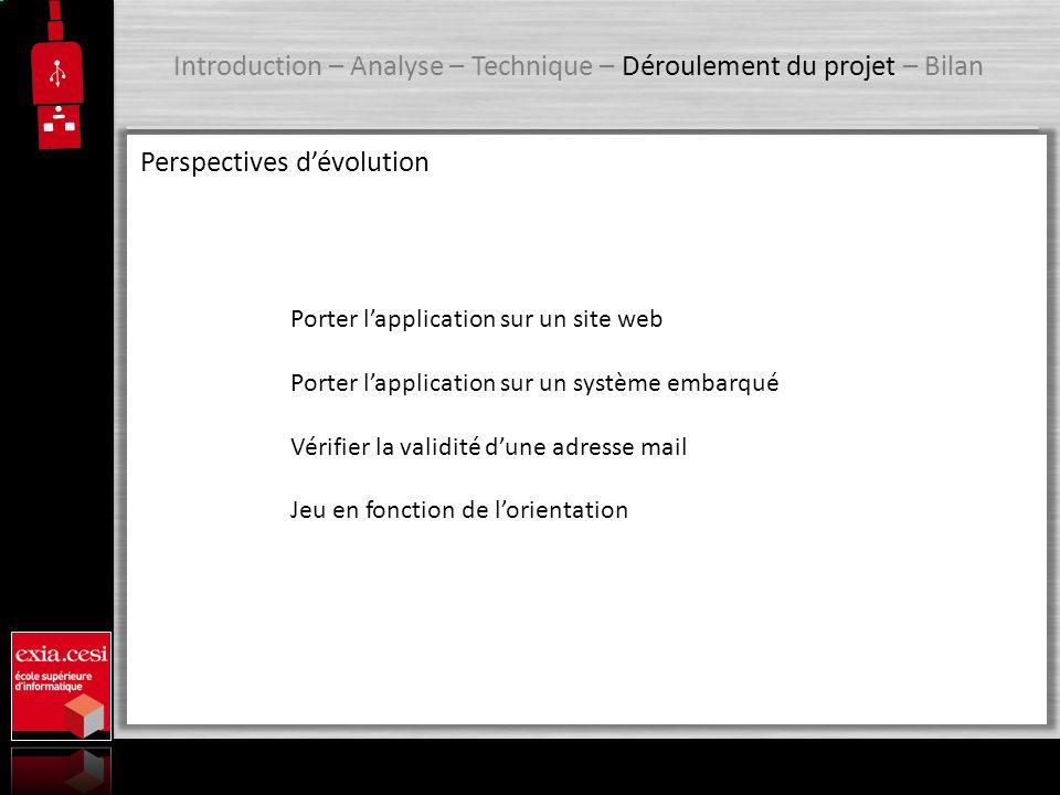 Introduction – Analyse – Technique – Déroulement du projet – Bilan