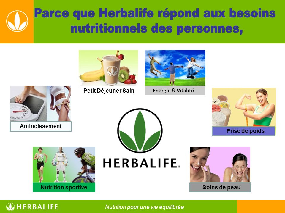 Parce que Herbalife répond aux besoins nutritionnels des personnes,