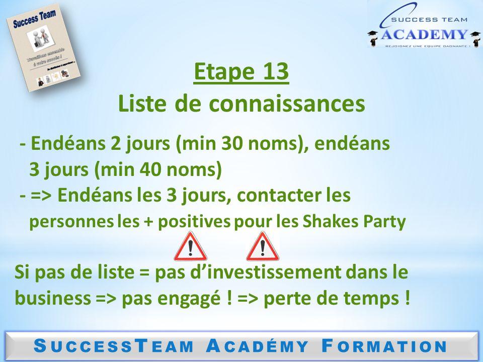 Liste de connaissances SuccessTeam Académy Formation