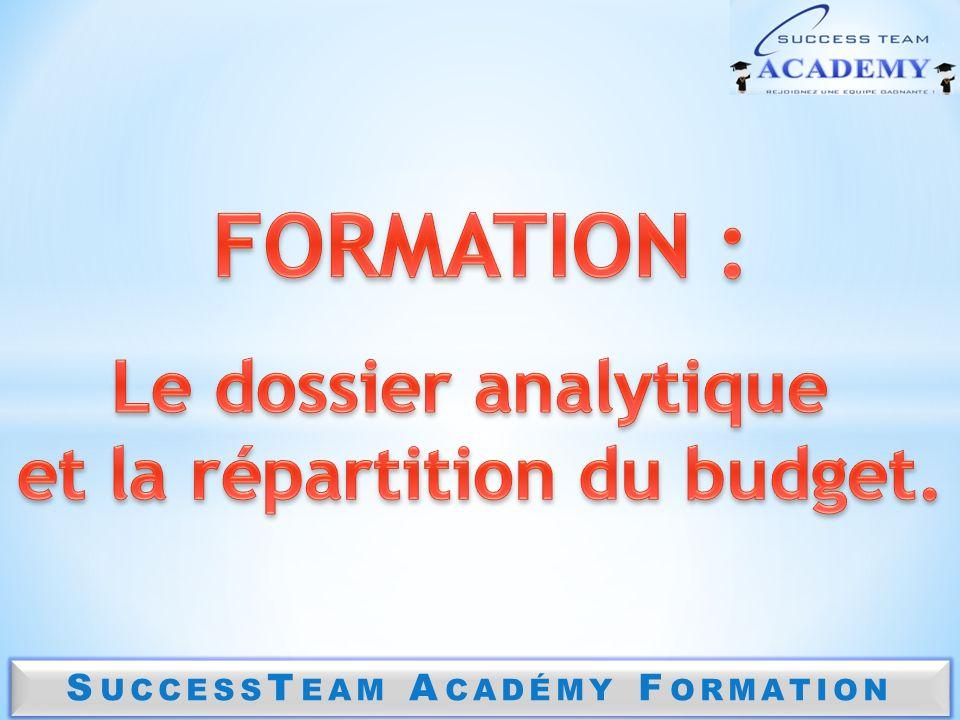 FORMATION : Le dossier analytique et la répartition du budget.
