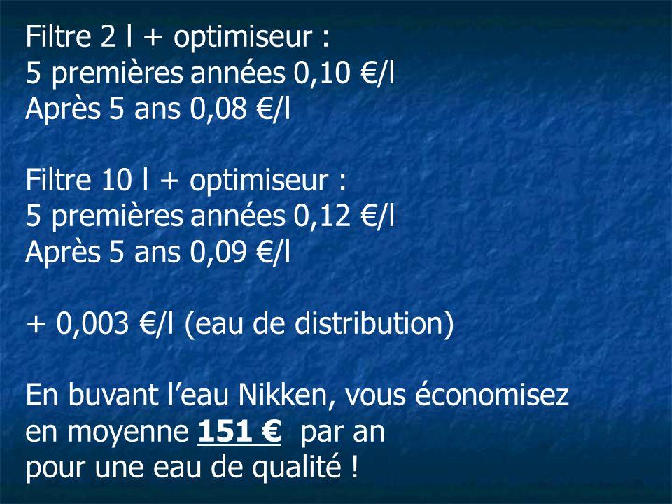 Filtre 2 l + optimiseur :5 premières années 0,10 €/l. Après 5 ans 0,08 €/l. Filtre 10 l + optimiseur :
