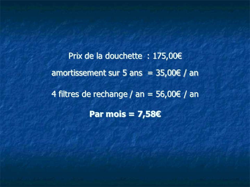 Prix de la douchette : 175,00€ amortissement sur 5 ans = 35,00€ / an 4 filtres de rechange / an = 56,00€ / an Par mois = 7,58€