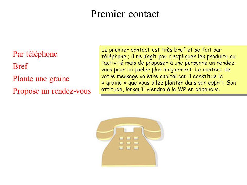 Premier contact Par téléphone Bref Plante une graine