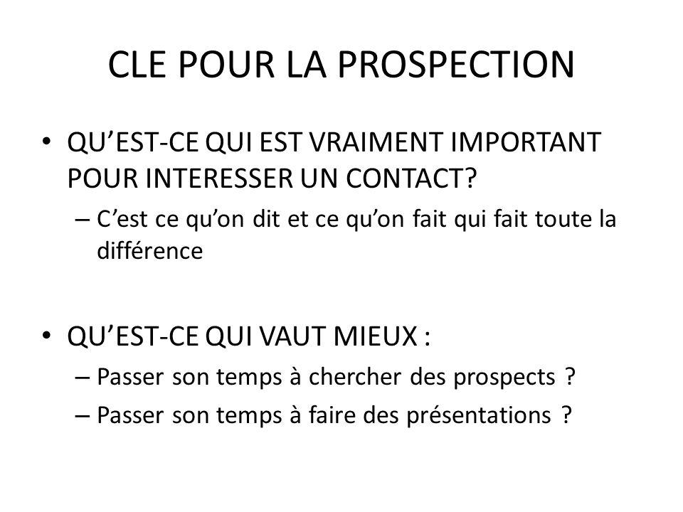 CLE POUR LA PROSPECTION