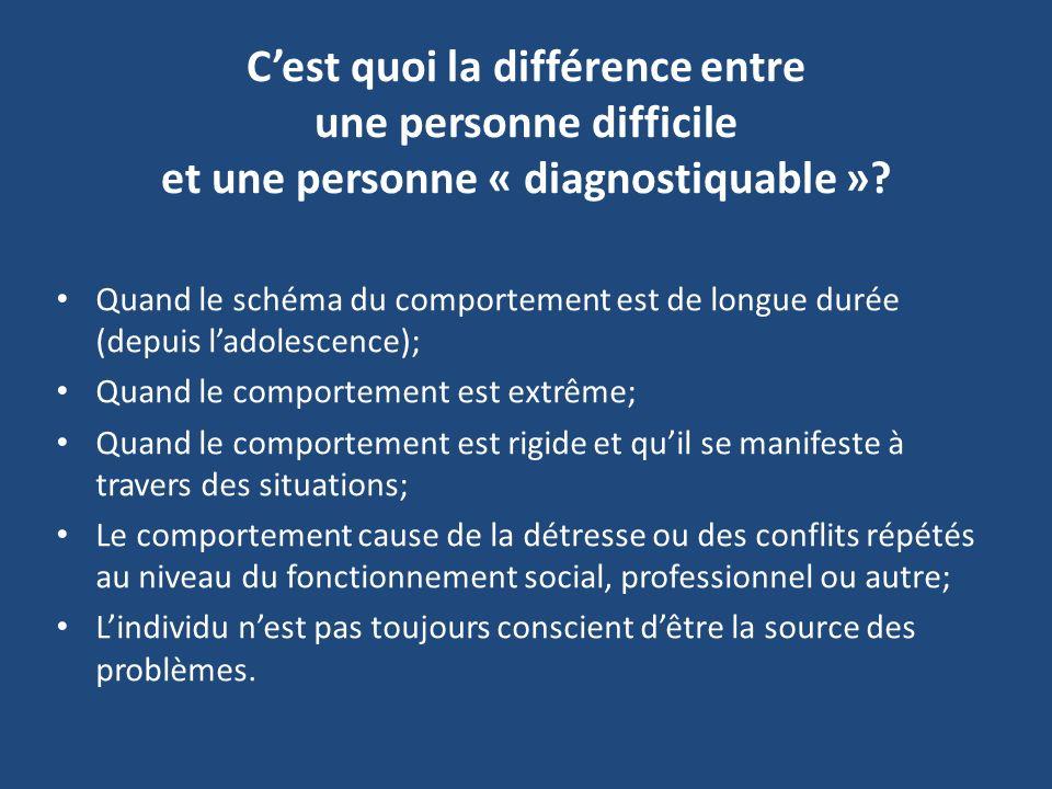 C'est quoi la différence entre une personne difficile et une personne « diagnostiquable »