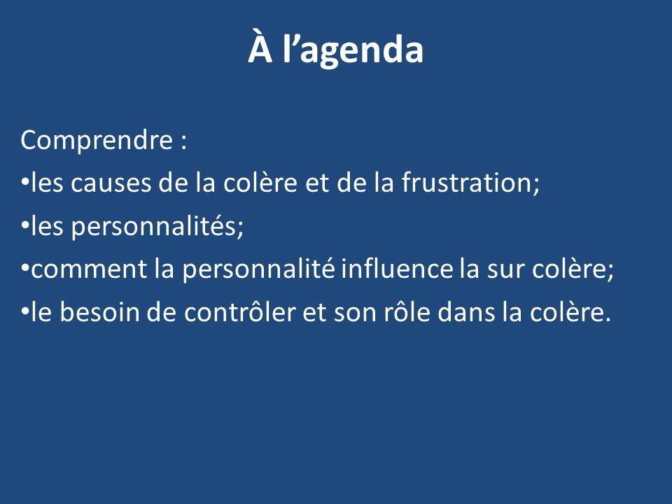 À l'agenda Comprendre : les causes de la colère et de la frustration;