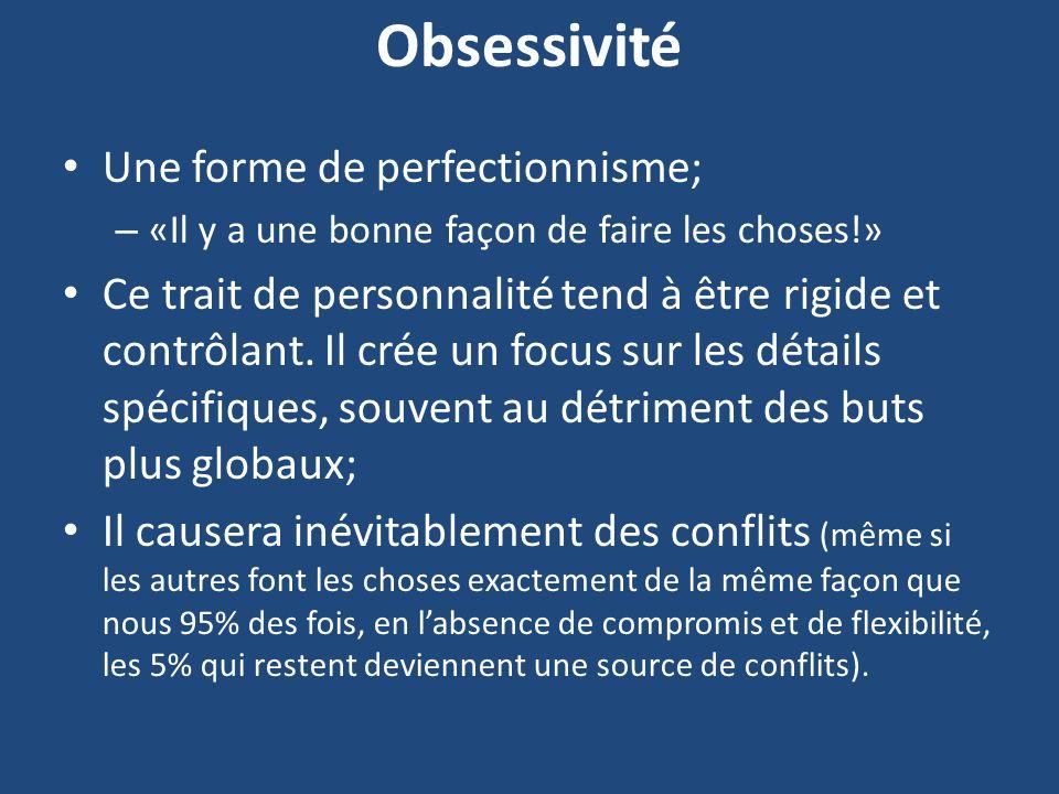 Obsessivité Une forme de perfectionnisme;
