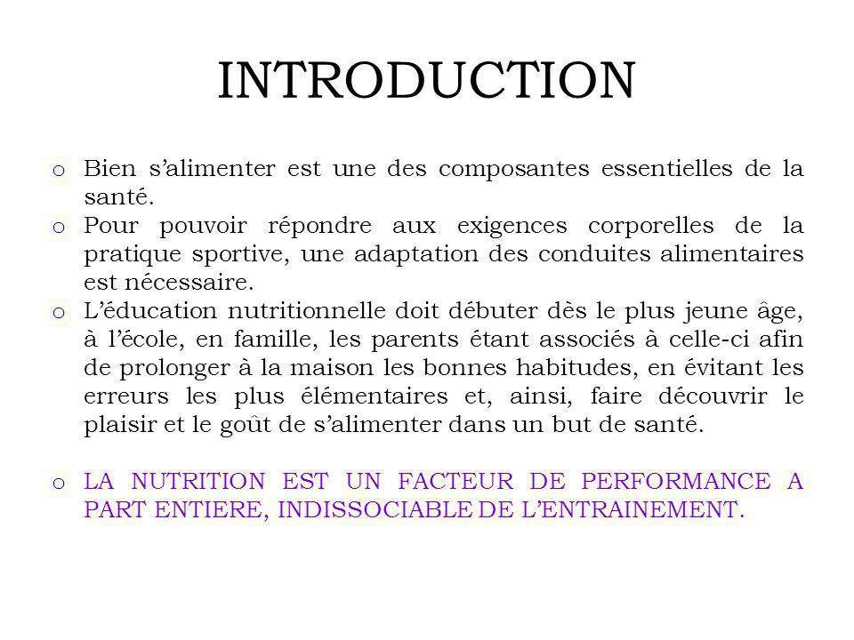 INTRODUCTION Bien s'alimenter est une des composantes essentielles de la santé.