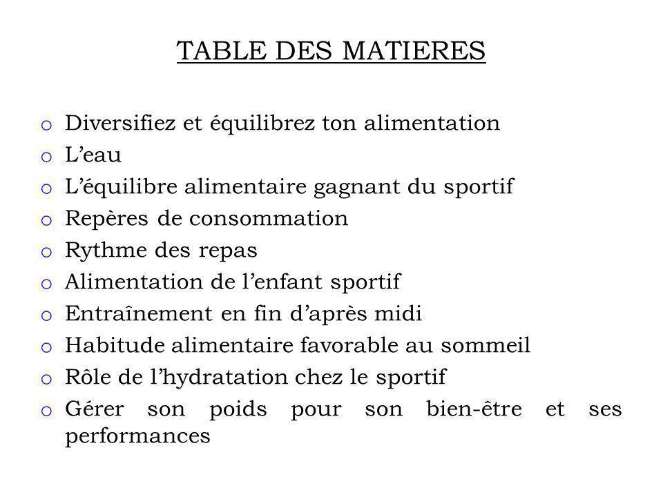 TABLE DES MATIERES Diversifiez et équilibrez ton alimentation L'eau