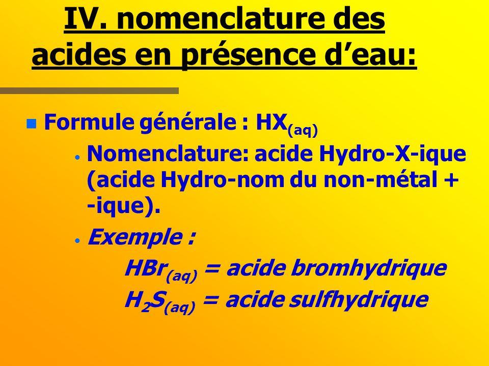 IV. nomenclature des acides en présence d'eau: