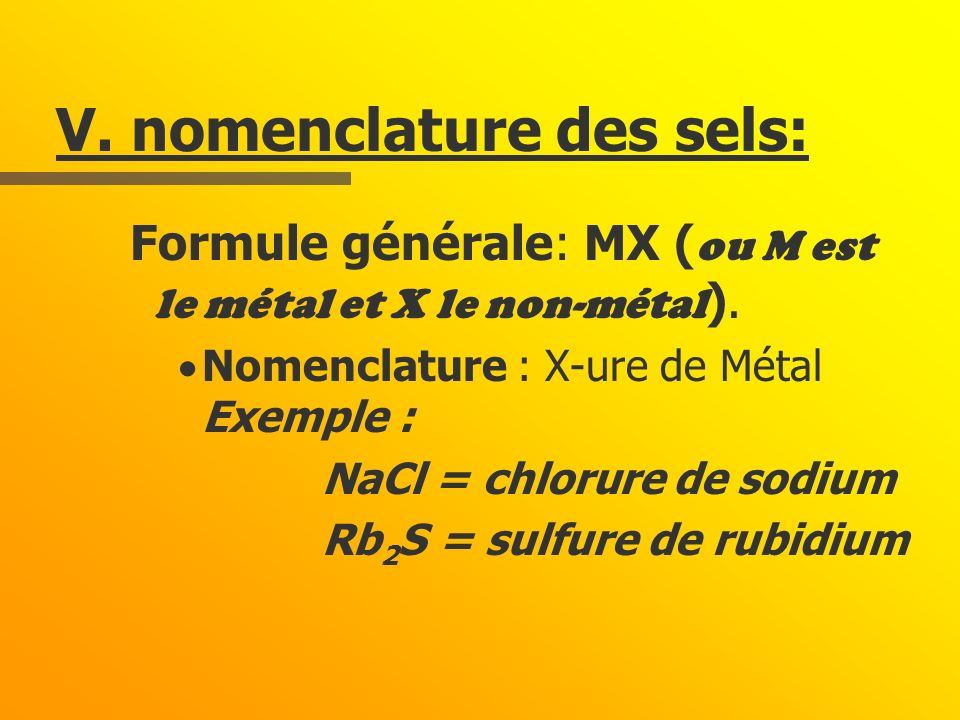 V. nomenclature des sels: