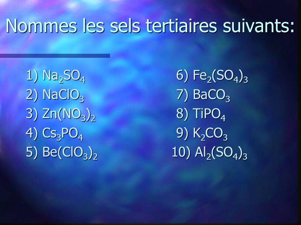 Nommes les sels tertiaires suivants: