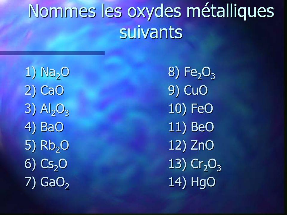 Nommes les oxydes métalliques suivants
