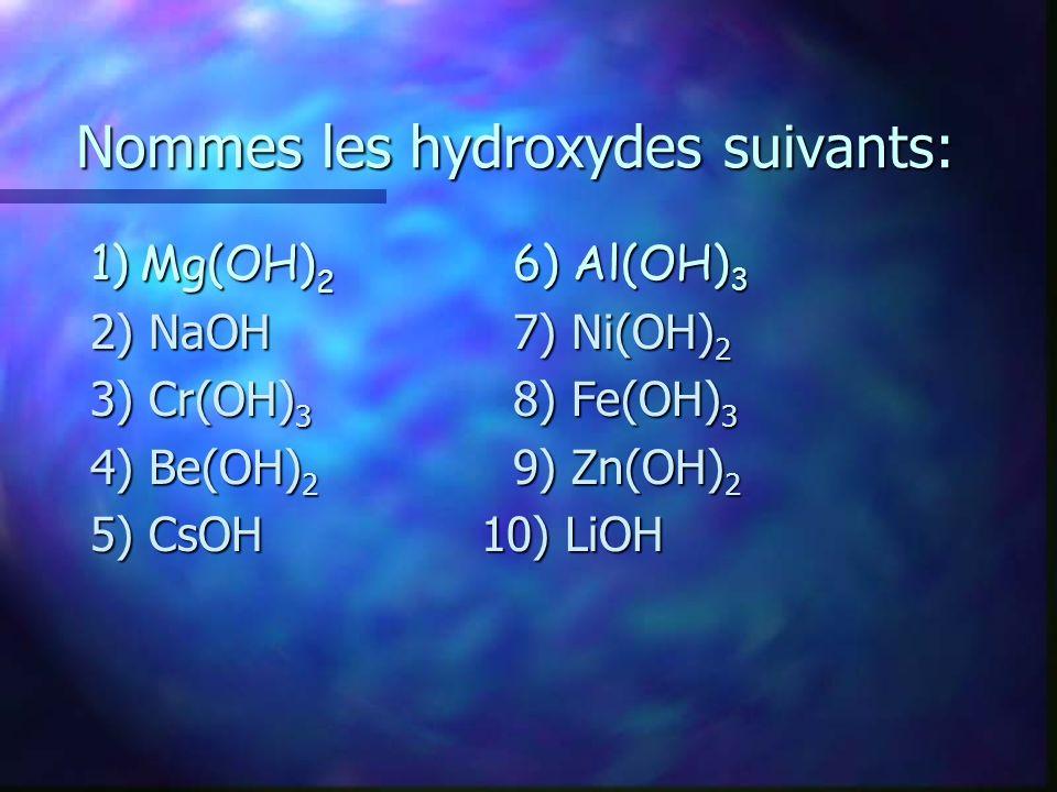 Nommes les hydroxydes suivants: