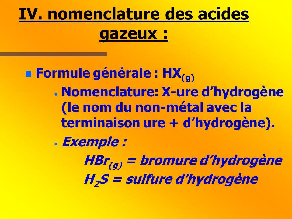 IV. nomenclature des acides gazeux :