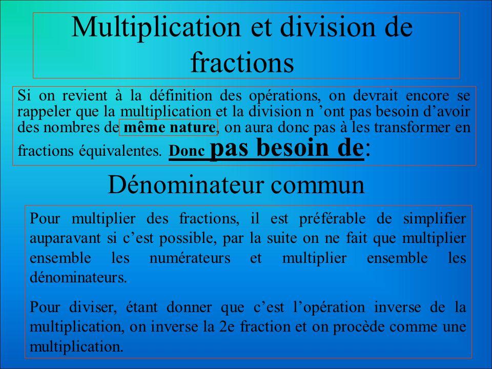 Multiplication et division de fractions