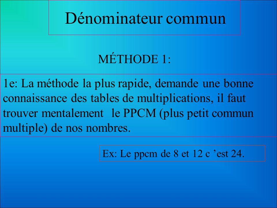 Dénominateur commun MÉTHODE 1: