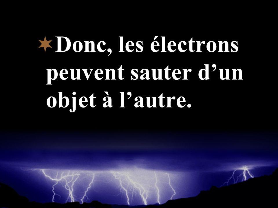 Donc, les électrons peuvent sauter d'un objet à l'autre.