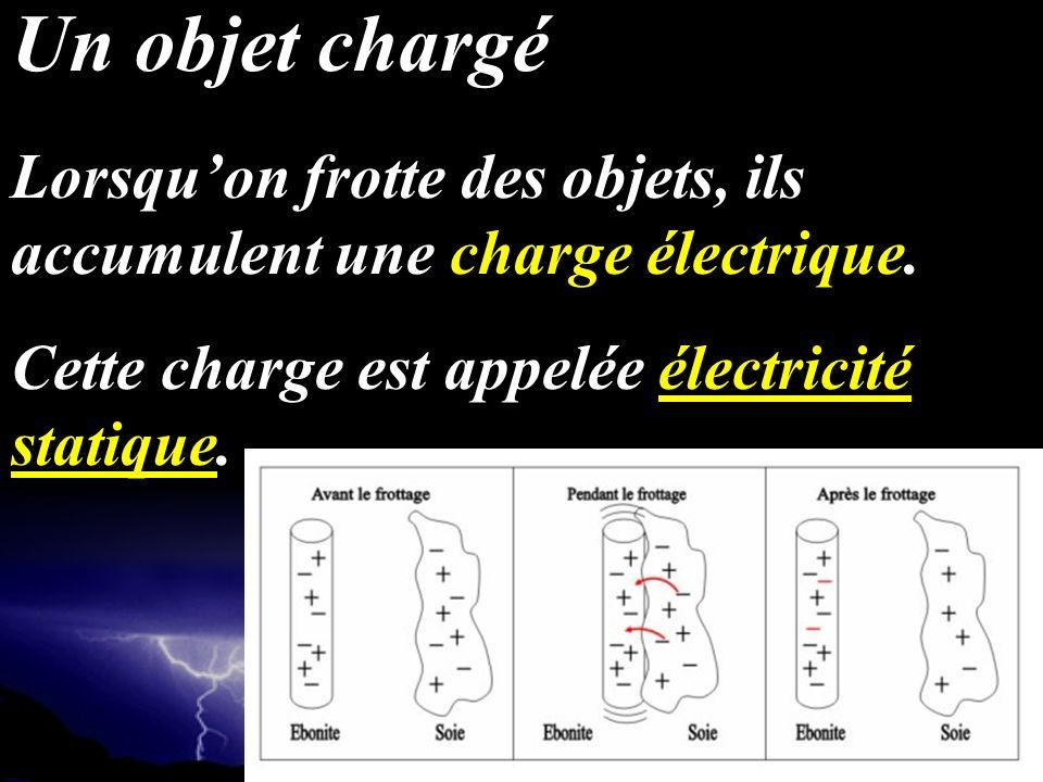 Un objet chargé Lorsqu'on frotte des objets, ils accumulent une charge électrique.